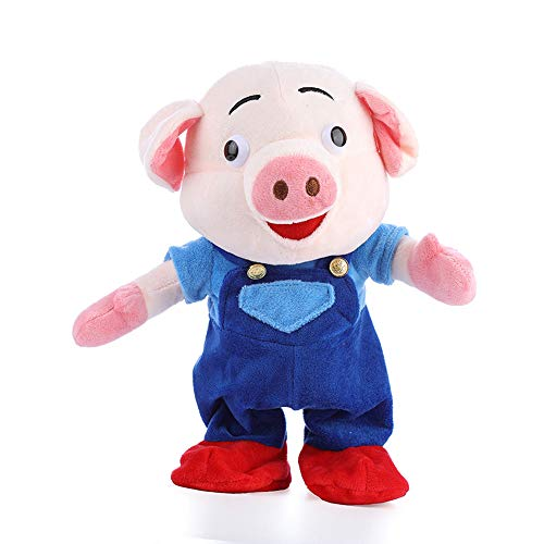 Buyeverything 12 inch Funny Electric Plush Pig Toys Music Walking Dancing Cute Singing Dura Music Dancing Piggy Baby Dolls for Kids Toddlers Christmas Party Favors Gifts Holiday Present -
