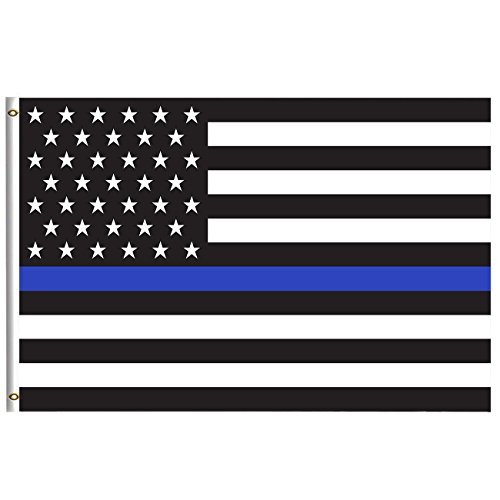Thin Blue Line Usa America Flags Flag 5x8 Feet With Brass Grommet