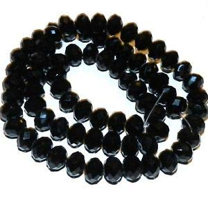 Steven_store CR612 Jet Black Opaque 10mm Rondelle Faceted Cut Crystal Glass Beads 22