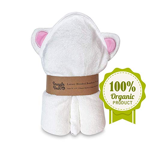 Premium Bamboo Hooded Baby Towel and Washcloth Set |Organic Ultra Soft & Absorbent Towel Sized for Infants and Toddlers | Perfect Baby Shower Gift | Options Include Beige, Pink, Blue on White (Pink)