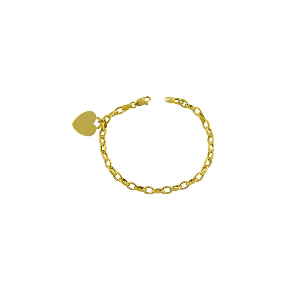 14kt Yellow Gold Oval Link With Heart Charm Bracelet