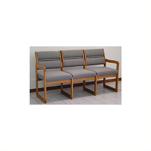 Reception Area Three-Seat Sofa with Sled Base and Oak Frame (Charcoal Gray) by Wooden Mallet