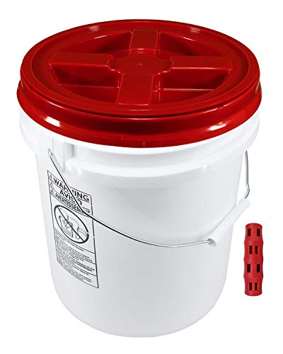 (Poly Farm 100 mil Extra Heavy Duty 20 Liter (5.28 Gallon) Bucket with Gamma Seal Lid (Red))