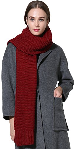 Women Men Winter Thick Cable Knit Wrap Chunky Warm Scarf All Colors Claret