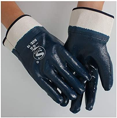 労働保護作業用手袋 作業手袋耐油性および耐油性完全ニトリル厚手手袋、5ペア (Color : BLUE, Size : L-Twelve pairs)