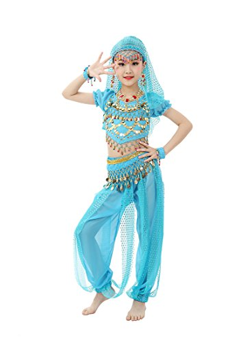Feimei Girl's Exotic Jasmine Belly Dance with Halter Top Harem Pants and Sequin Coins for Performance and Halloween(Turquoise, X-Large) for $<!--$28.65-->