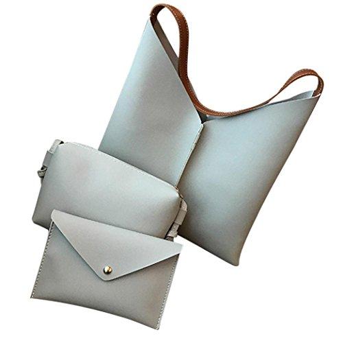 Satchel Messenger Shoulder Clutch Bag Clearance Tote Packet Litchi Leather Wallet Mobile with 3Pcs Handbag Corssbody Pattern Gray Bag Handbags nbsp;b Women's x4B4FqT