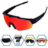 GIEADUN anteojos de Sol Deportivas de protección para Ciclismo con 4 Lentes Intercambiables polarizadas UV400 para Ciclismo, béisbol, Pesca, esquí, Correr, Golf