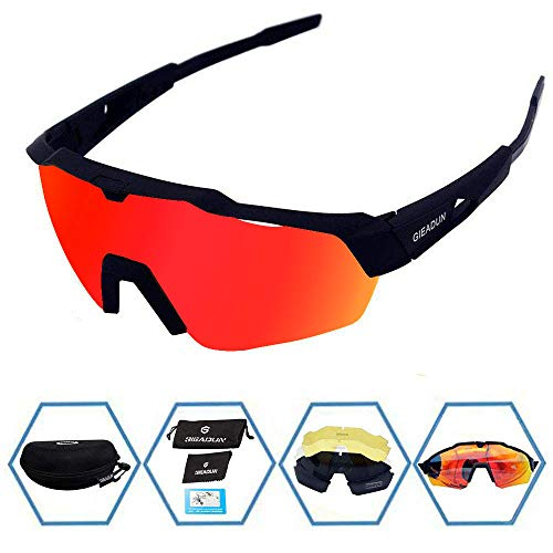 GIEADUN Sports Sunglasses Protection Cycling Glasses with 4 Interchangeable Lenses Polarized UV400 for Cycling, Baseball,Fishing, Ski Running,Golf (Black) (Best Cheap Cycling Glasses)