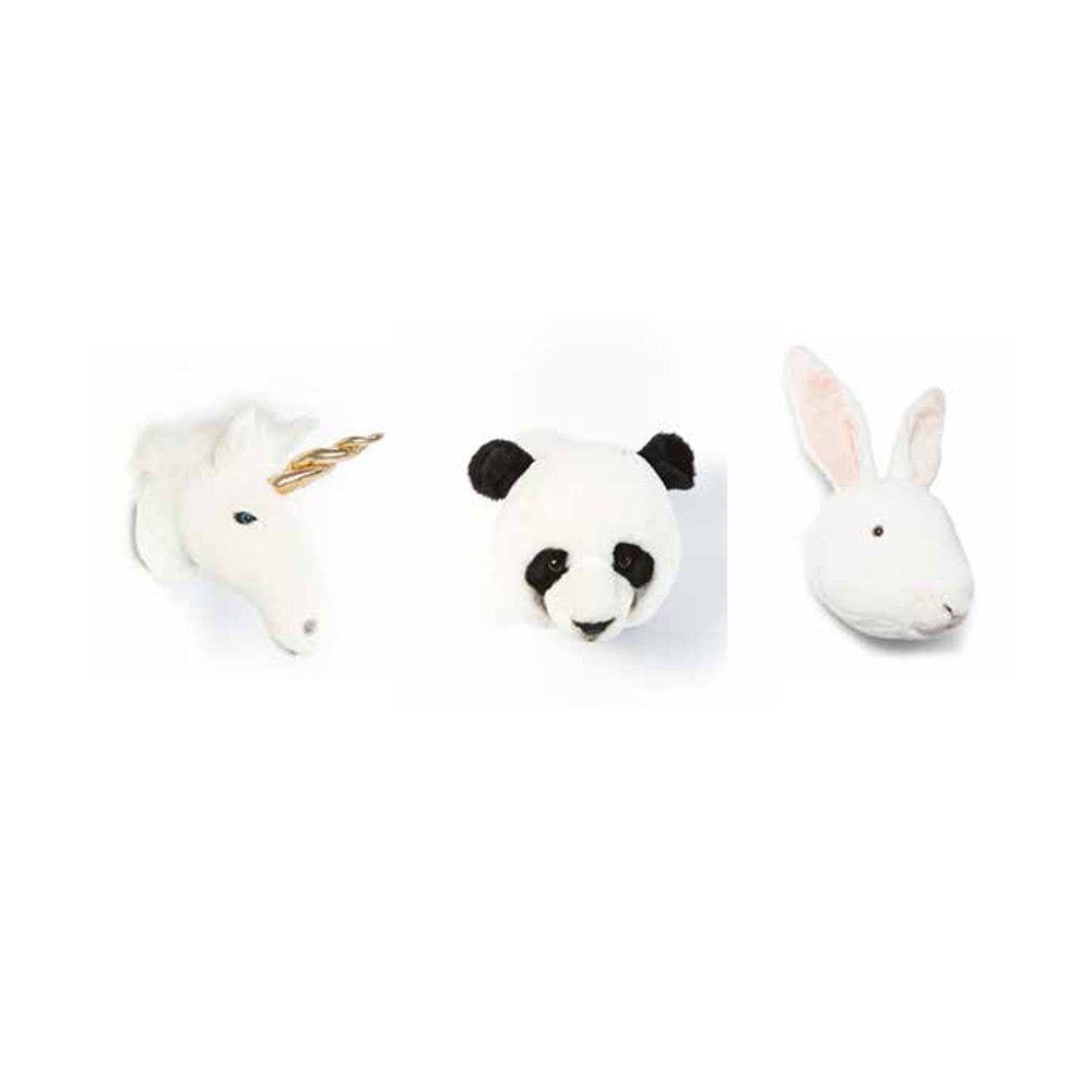 Lovely Lovely Lovely Box mit 3 Trophäen Einhorn, Kaninchen und Panda  3Plüschtiere als Wanddekoration im Kinderzimmer 0cf4fe