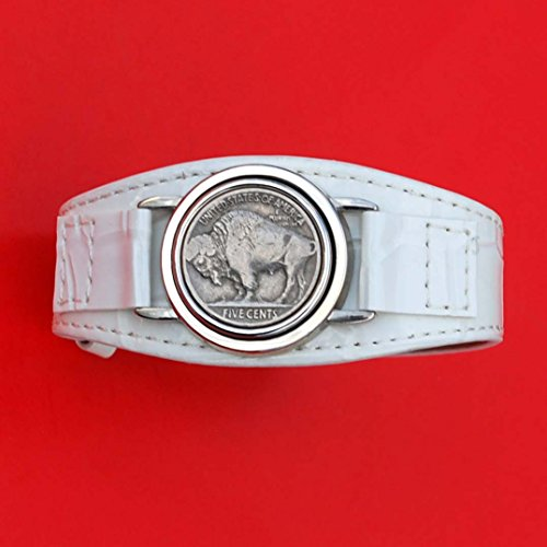 US 1913 ~ 1938 Indian Head Buffalo Nickel Coin Magnetic Golf Ball Marker White PU Faux Leather Golf Bracelet - Silver Coin Bezel