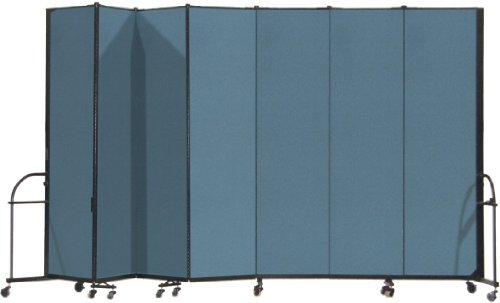 13 Panel Room Dividers - Screenflex Heavy Duty Portable Room Divider (HFSL747-DB) 7 Feet 4 Inches High by 13 Feet 1 Inches Long, Designer Lake Fabric