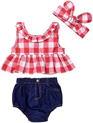 YanHoo Bambino Piccolo Bambino Ragazza Tops + Denim Pantaloncini Abiti, Impostato Estate Plaid costeggiato Maglietta