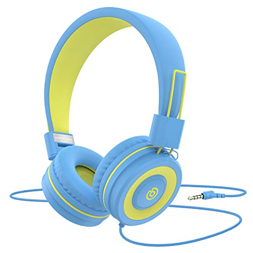 Kids Headphones Besom i66 for Boys Girls Teens Children Toddler Volume Limited Adjustable Foldable Tangle-Free Cord 3.5mm Jack Wired Over-Ear Headset for iPad iPhone Computer MP3 Kindle Tablet(Yellow)