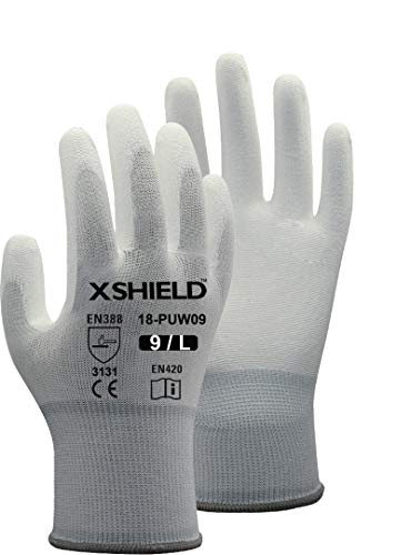 XSHIELD 17-PUG,Polyurethane/Nylon Safety WORK Glove,12 Pairs (X-Large, White)