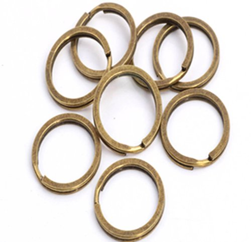 (YOYOSTORE 50x Bronze Flat Key Ring 24mm 1