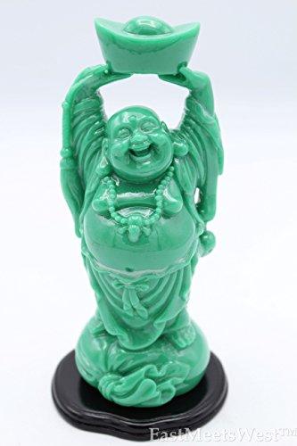 LuckyGifts Chinese Jadeite Feng Shui Love Happiness Longevity Wealth Happy Buddha Holds Gold Ingot