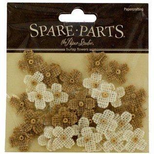 40-Piece Burlap Bead Flowers]()