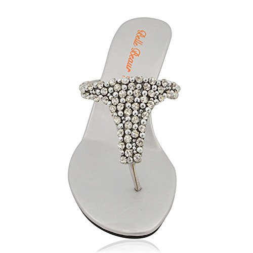 Infradito Diamante Sandalo a Cuneo Finto Donna ESSEX Scintillante Tacco GLAM Argento Elegante con xwqn0HtBg