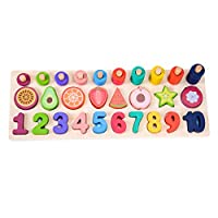 GEMEM Counting Shape Stacker Wood Sorting Puzzles Toys Montessori Preschool Toddler Counting Diversity Toy Fruit Number Math Blocks for 2 3 Year Old Kids