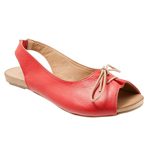 (New in Respctful✿Women's Flat Leather Summer Sandals Slip On Flats Ladies Casual Pee Toe Slingback Lace Up Sandals Red)