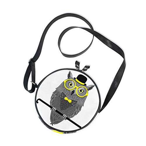 Girls Hats Shoes Purses - XinMing Cartoon Owl Glasses Hat Girl Round Crossbody Shoulder Bags Adjustable Top Handle Bags Satchel for Women