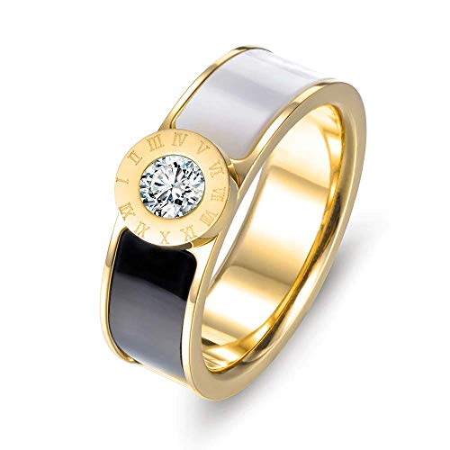 - Designer Inspired Gold Titanium Roman Numerals Love Ring with Enamel and Austrian Crystals (8)