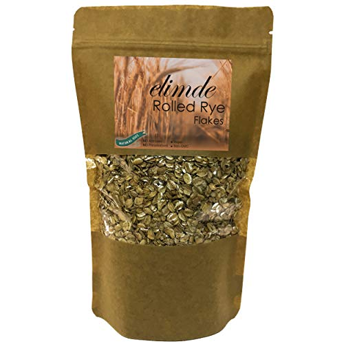 Elimde Rolled Rye Flakes ( 1 lb. ) | %100 Natural | %100 Non-GMO Whole Grain | High Protein-Fiber Source Old Fashioned Sugar-Free Flakes | No Additives No Preservatives (1 ()