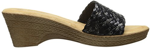 Easy Street Tuscany by Women's Perugia Wedge Sandal Black/Gold Stitch JUlAuHyaE4