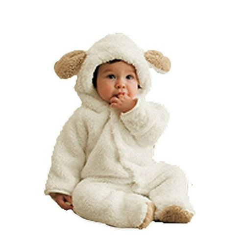 Arrowhunt Baby Toddler Winter Cute Bear Fleece Romper White