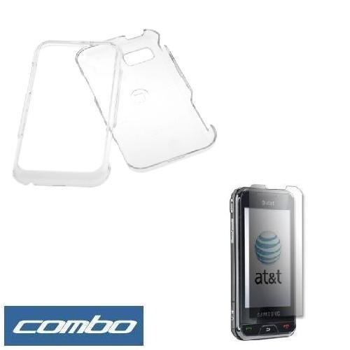 Cover A867 - Transparent Clear Snap On Crystal Hard Cover Case + Clear Reusable LCD Screen Protector for AT&T Samsung Eternity SGH-A867 Cell Phone