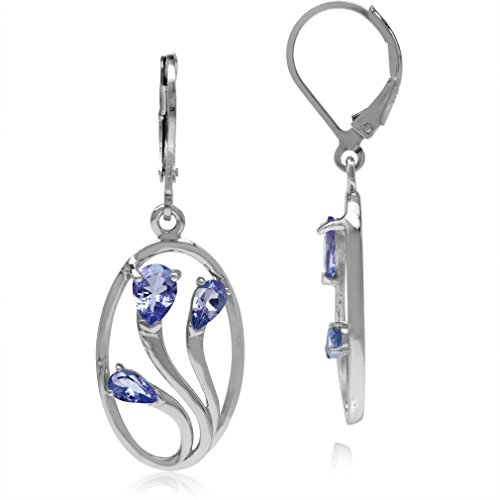 (1.42ct. 3-Stone Genuine Pear Shape Tanzanite 925 Sterling Silver Leverback Dangle Earrings )