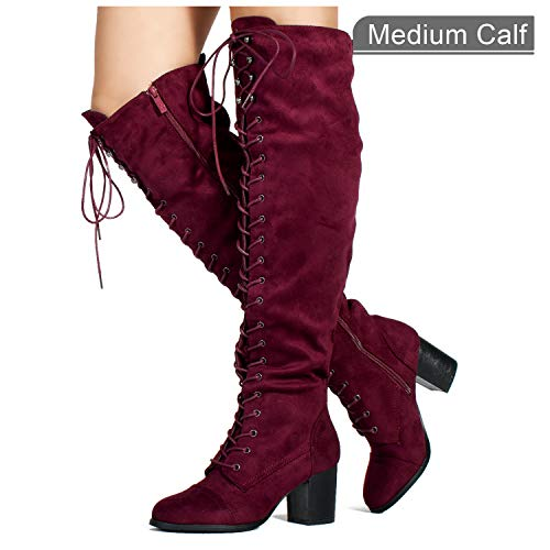 RF ROOM OF FASHION Low Block Heel Pullon Over The Knee Boots (Medium Calf) Wine (5.5)