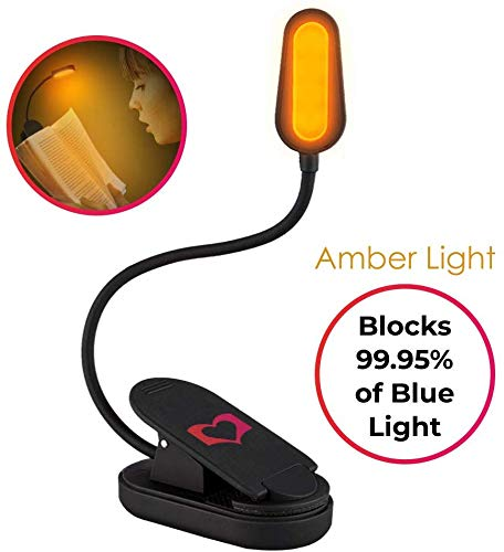 Collo pieghevole portatile USB o a batteria - LoveReading Luce blu che blocca la luce di lettura e il libro ambrato ricaricabile ha condotto la luce notturna Classe energetica A +++