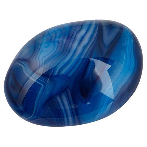 mookaitedecor Blue Agate Palm Stone Crystal Healing Gemstone Worry Therapy Irregular Shape