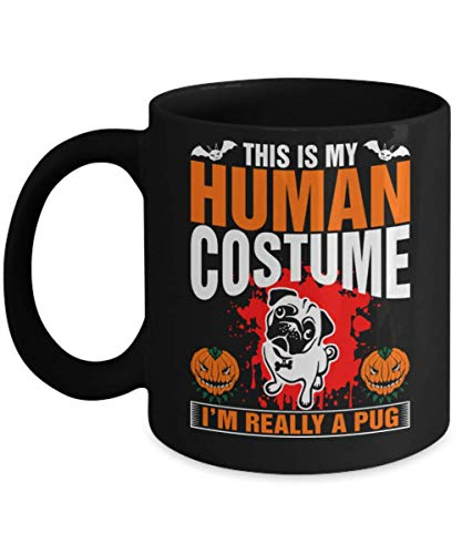This Is My Human Costume Pug Mug, Halloween Ghost I'm Just Here For The Boos Funny Beer Mug, Gift Dad for Father's day Daddy, Gift Idea for Women and