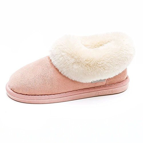 DKKK Snow Ankle Boots For Women, Juniors Cozy Soft Suede Leather Sheepskin Rubber Slippers Super Thick Premium Fluffy Lightweight Warm Color Blocking Boot Slipper For Adults Pink and White Size (Junior Suede Boot)