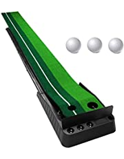 Portable Golf Putting Green Mat with Automatic Ball Return Way and Ball Dam Board, Mini Golf Practice Training, Game and Gift for Home, Office, Outdoor Use, 3 Bonus Balls for Free