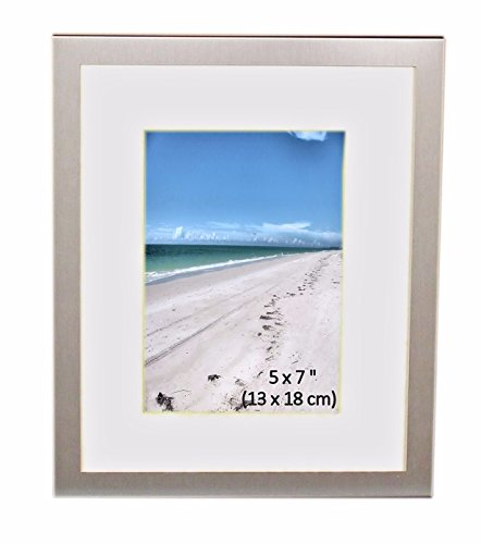 Brushed Aluminum Satin Silver Color Landscape Or Portrait Photo Picture Frame With Mount - Takes A Photo Of 5 x 7 Inches (13 x 18 cm) - Or 10 x 8 Inches (25 x 20cm) With Mount Removed.