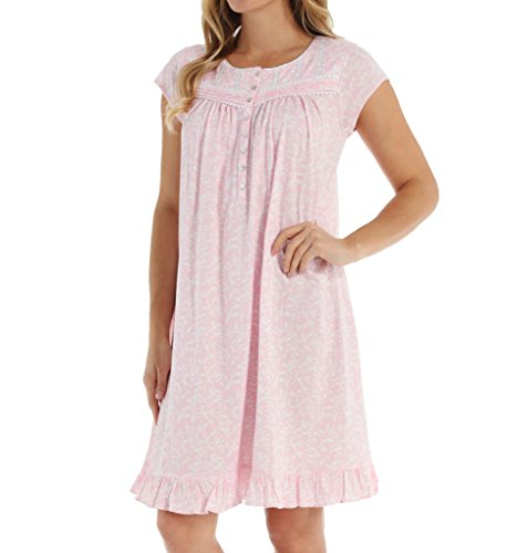 Eileen West Petal Soft Pima Cotton Nightgown Pink Floral Cap SLV, Large