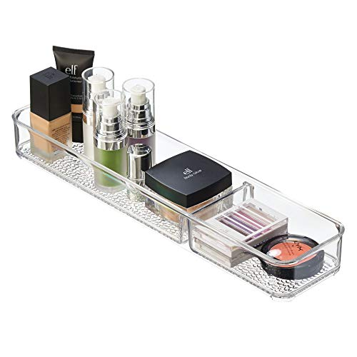 """InterDesign Rain In Drawer Divided Tray for Vanity, Bathroom, Countertop, Drawer, Cosmetics, Makeup, Toiletries, Craft and Office Supplies, BPA-Free, 4"""" x 16"""" x 2"""", Clear"""
