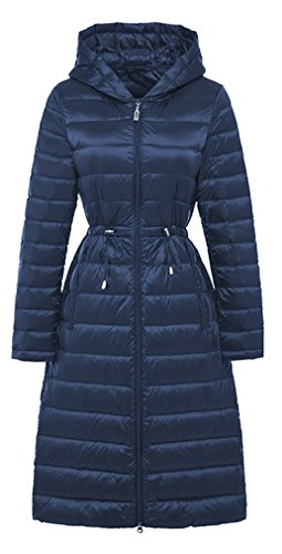 Coat Winter Women's Jacket Down Hooded Elezay Light Navy Weight vqwxB0C