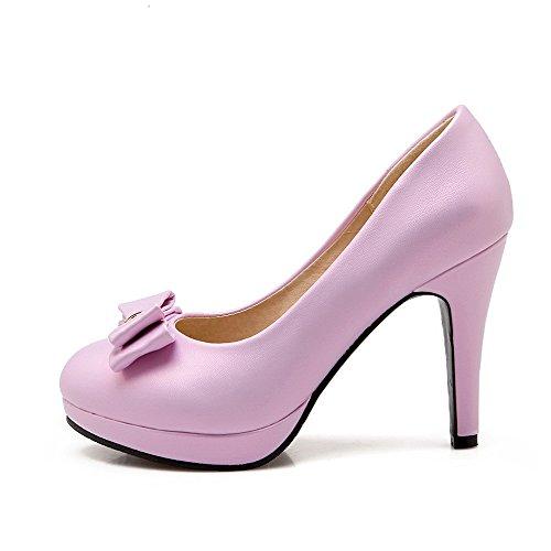 AllhqFashion Damen Rund Zehe Hoher Absatz Weiches Material Eingelegt Ziehen auf Pumps Schuhe Lila