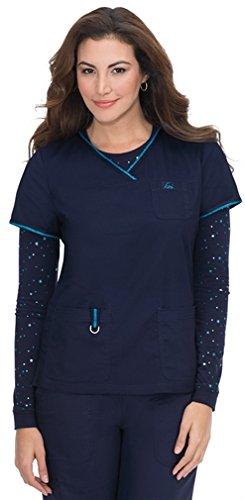 KOI 247C Women's Nicole Top Navy/Ultramarine Small (Sleeve Nursing Scrubs)