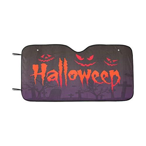 InterestPrint Happy Halloween Horror Gost Windshield Sunshade for Car SUV UV Ray Protector Auto Front Window Sun Shade, 55