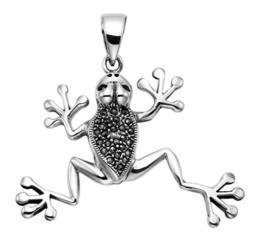 Wild Things Sterling Silver Tree Frog Pendant w/Faceted Red Crystal Eyes