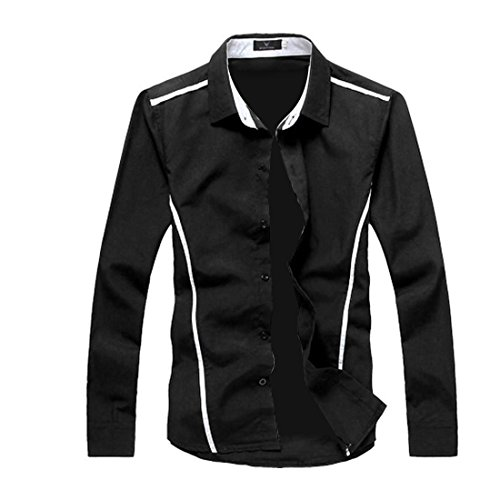 Vshop-2000 Men's Point Collar Long Sleeve Piped Button Down Shirt
