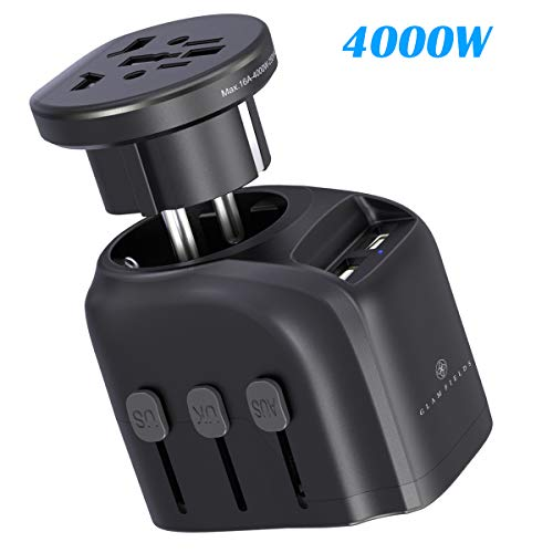 (High Power Travel Adapter,GLAMFIELDS International Power Adapter,2500W/4000W 2 in 1 Worldwide All in One AC Outlet Power Plug Adapter with 2 USB Charging Ports for USA UK AUS European 200+ Countries)