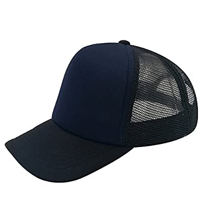 E-forest hair Polyester Unisex Plain Trucker Mesh Cap Adjustable Blank Baseball Cap