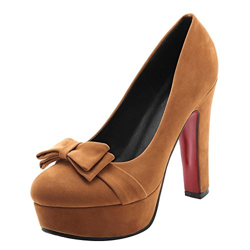 runde Damen high Shoes Plateau Mee Pumps Braun heels 6qwvnB